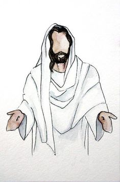 Chalk Drawings Sidewalk Discover Jesus Painting Christ Jesus in White Jesus Watercolor Painting Christian Art LDS Art Christ with Arms Open No Face Painting Jesus Christ Painting, Jesus Art, Jesus Christ Drawing, Paintings Of Christ, Lds Art, Bible Art, Jesus Sketch, Jesus Christ Lds, Savior