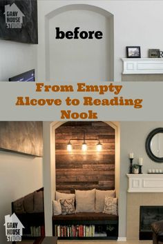 DIY empty alcove to reading nook