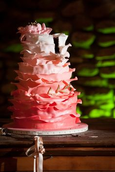 Chocolate, tiered cake with ombre icing!