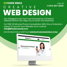 Our Designer Can Turn Your Concept To A Creative Website Which Can Help You To Grow Your Business. For FREE 30 Minutes Phone Consultation With One of Industry's Expert To Launch Website via e-mail at: info@efusionworld.com. Creative Web Design, Responsive Web Design, Web Design Services, Website Designs, Growing Your Business, Product Launch, Concept, Phone, Free