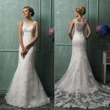 Casamento Do Laço Da Sereia Vestidos de Casamento 2017 Tribunal Trem Colher Apliques Elegante Vestido de Casamento Vestidos de Noiva Vestido De Noiva alishoppbrasil