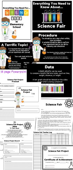 Science Fair: Everything You Need for Elementary School! Includes a 14 slide PowerPoint introduction for students and a 25 page PDF full of resources including a student proposal sheet, student checklist, sheets for a log, sheets for a report, rubric, and so much more!! Also includes an editable parent letter.