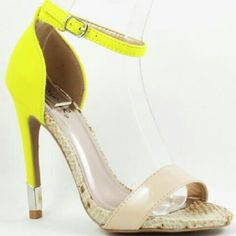 """Neon Yellow Heels Ankle strap heels with nude front strap Heel height approx 5"""" Run true to size Qupid Shoes Heels"""