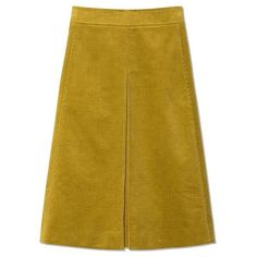 Tory Burch Rowan Skirt (6 630 UAH) ❤ liked on Polyvore featuring skirts, tory burch, knee length a line skirt, yellow skirt, yellow a line skirt and a line skirt