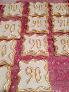LOVE These 90th Gold And White Cookies For A Party Favor Birthday Cakes