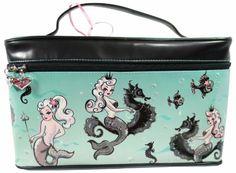 Fluff Mermaid Love - Queen Mermaid with Seahorse - Pearla Makeup Large  Train Case  35.99 Train 8e734788fb40d