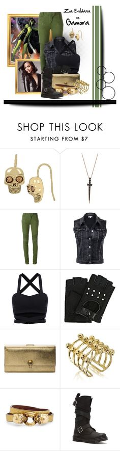 """Marvel: Gamora"" by darksyngr ❤ liked on Polyvore featuring Betsey Johnson, Bee Goddess, Balmain, Karl Lagerfeld, Alexander McQueen, Bernard Delettrez and Dr. Martens"