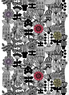 Maija Louekari's new Lintukoto print overflows with wild flora and charming structures. The large-scale whimsical print inspires free-flowing creativity. So rev up the sewing machine and make a duvet cover or tablecloth. Use Lintukoto to makes show-stoppe