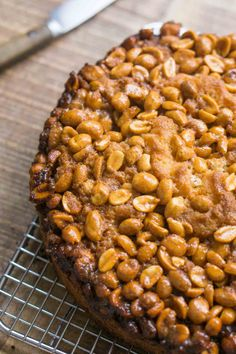 An outstanding Caramelized Peanut Cake with a nutty, salty, caramel topping. This easy recipe will wow your friends and family! Honey Recipes, Sweet Recipes, Cake Recipes, Dessert Recipes, Peanut Recipes, Cupcakes, Cupcake Cakes, Peanut Cake, David Lebovitz