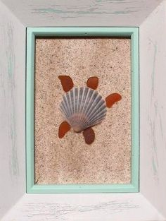 How clever.  A seashell and some sea glass.  A little glue to hold the sand in the background.  Love it