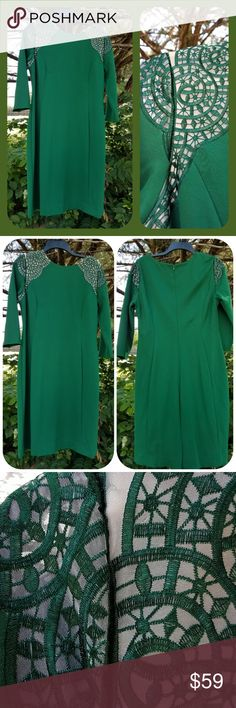 Antonio Melani dress size 12 Beautiful green dress by Antonio Melani size 12 materials are shell 68% rayon 27% nylon 5% spandex lining is 100% polyester measurements laying flat armpit to armpit 19 1/2 inches waist 16 1/2 inches hip area 21 1/2 inches sleeve length 18 1/2 inches dress length 37 1/2 inches ANTONIO MELANI Dresses