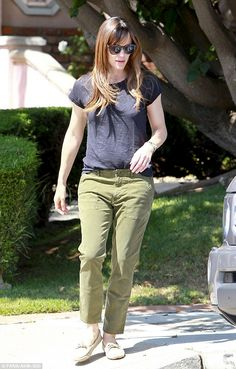 Casual: Mum of three Jennifer Garner picks up her daughters from a friend's house in Brentwood, California on Saturday