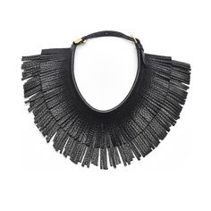 Ilaria Leather Fringe Necklace, Jet Black - Hayden-Harnett Handbags & Accessories Online Store