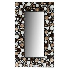 """Wall mirror with a shell mosaic frame.  Product:  Wall mirrorConstruction Material:  Sea shells, wood and mirrored glassColor: Black, gold and amberDimensions:  39.5"""" H x 23.75"""" W"""