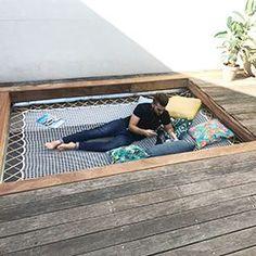 The trendy and decorative asset of your terrace: the hanging net Deck Design, Landscape Design, Outdoor Spaces, Outdoor Living, Backyard Landscaping, Relax, Garden, Tavistock, Beach Shack