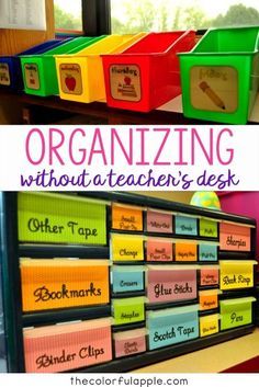See how this teacher organized her classroom without a teacher's desk.