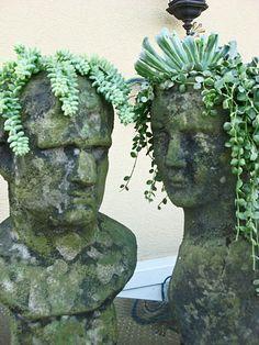 Inspire Bohemia: Stoneface Creations: Stone Head Garden Planters