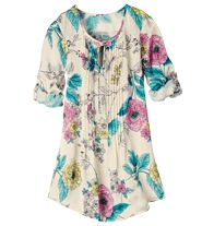 "Pintuck Floral Tunic - ""LOVE this top. Fits wonderfully and I have received a LOT of complments on it."""