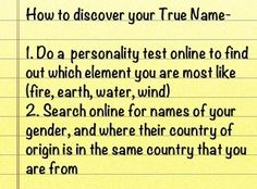 How to find your true name (SP)