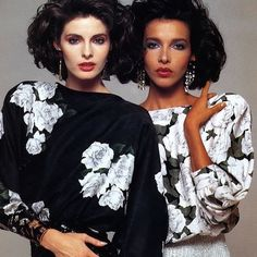 Botanical beauties @joan_severance and Dalma Callado stand side by side. Shot by Renato Grignaschi in 1984. #OneDressADay
