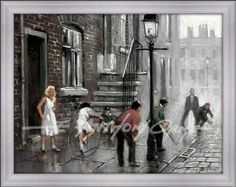 """Saturday Morning  """" Saturday Morning """"  New nostalgic fine art print by E. Anthony Orme, depicting children playing cricket and a girl skipping, based on memories from Anthony's youth.  Select your art print in colour or black and white. Choose a frame and mount (mat) to suit your house decor and have your art delivered to your door or click and collect from the E Anthony Orme Gallery and Picture Framers at 284 Stand Lane, Radcliffe, Manchester, M26 1JE United Kingdom. Tel: 0161 7669991"""