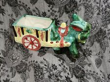 "Retro Majolica Style Pottery Donkey Cart Planter ""In Need of a Loving Home"""