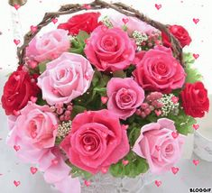 ★ Princessly Pink ★ Lovely bouquet of beautiful roses All Flowers, Pretty Flowers, Fresh Flowers, Colorful Flowers, Glitter Graphics, Angels In Heaven, Beautiful Roses, Tulips, Flower Arrangements