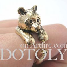 3D Panda Bear Animal Wrap Around Ring in Bronze Size 5 to 9 Available