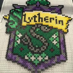 Slytherin - Harry Potter perler beads by Pony Bead Patterns, Pearler Bead Patterns, Perler Patterns, Beading Patterns, Diy Perler Beads, Pearler Beads, Pixel Art, Harry Potter Perler Beads, Slytherin