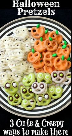 Hallowen Halloween Pretzels: 3 Cute & Creepy Ways to Make Them, from Butter With A Side o. , Halloween Pretzels: 3 Cute & Creepy Ways to Make Them, from Butter With A Side o. Halloween Pretzels: 3 Cute & Creepy Ways to Make Them, from Butter. Halloween Cupcakes, Bonbon Halloween, Dessert Halloween, Halloween Goodies, Halloween Food For Party, Halloween Chocolate, Halloween Halloween, Easy Halloween Treats, Halloween Birthday Decorations