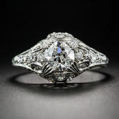 .85 Carat Diamond Platinum Antique Engagement Ring