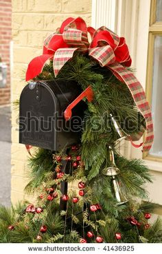 stock photo : Mailbox decorated for Christmas