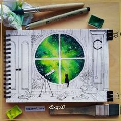 Inspiration Art, Art Inspo, Drawing Sketches, Cool Drawings, Tumblr Drawings Easy, Colorful Drawings, Arte Sketchbook, Watercolor Art, Watercolor Paintings Tumblr