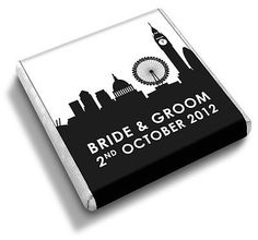 Personalised bow chocolate favours another diy australia top 50 personalised london skyline british themed wedding favour chocolates junglespirit Image collections