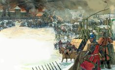 Mongol siege of a Russian town