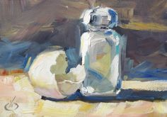 CONTEMPORARY STILL LIFE, SALT, EGG SHELL, 5x7 ORIGINAL OIL by TOM BROWN, painting by artist Tom Brown