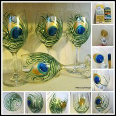 How to Paint on Glass, Hand Painted Peacock Feather Wine Glasses from The Dollar Store DIY