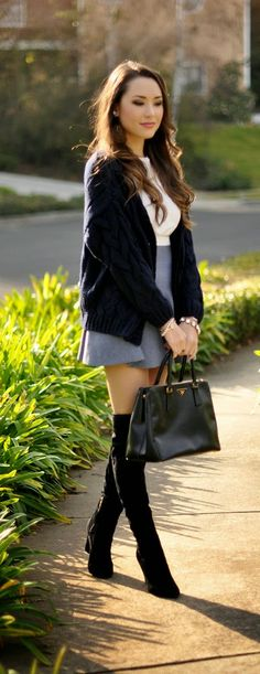 Cable Knit Sweater   Grey High Waist Skirt