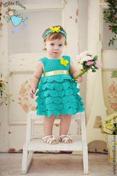 """Платье """"Мятная Принцесса"""", ручная работа - мятный,платье,платье вязаное"""