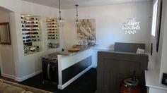 Finished #basement bar, #custom #winerack, seating area  #basementremodel #remodel #remodeling #cle #after #designbuild #basementideas #bar