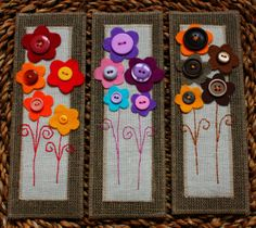 Felt bookmarks with flowers - cute Mother's Day gift Diy Bookmarks, Crochet Bookmarks, Button Art, Button Crafts, Felt Flowers, Fabric Flowers, Fabric Crafts, Sewing Crafts, Craft Projects
