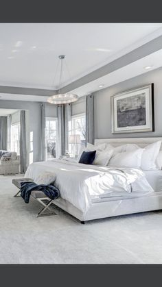 Interesting solution for ceiling, trim and some color white bedroom, bedroom sets, master Master Bedroom Design, Dream Bedroom, Home Decor Bedroom, Modern Bedroom, 1920s Bedroom, Ikea Bedroom Sets, Coastal Bedrooms, Luxurious Bedrooms, My New Room