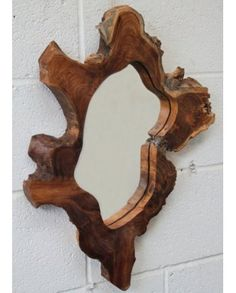 Solid Wooden Teak Root Mirror - Large