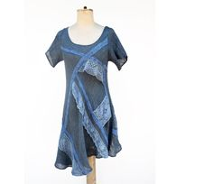 Long linen hand dyed tunic, S size, jeans blue OOAK woman unique fashion design, lace, asymmetric by ZOJKA pure nature eco clothing 37