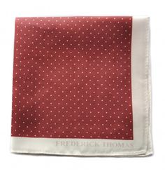 maroon and white pin spotted pocket square with white edging