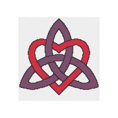 Celtic Heart knot design. Red Heart and Purple knot. It looks beautiful by itself when framed with a broad mount or mat. It is also ideal for