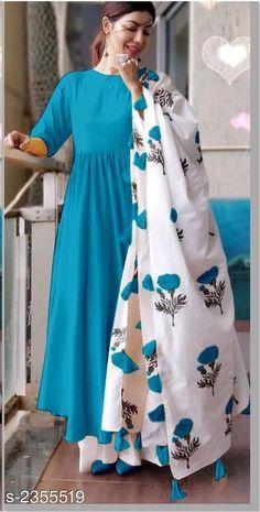 Solid Rayon Anarkali Kurta Sets from Stf Store Dress Indian Style, Indian Fashion Dresses, Indian Designer Outfits, Pakistani Dresses, Indian Outfits, Designer Dresses, Indian Gowns, Indian Wear, Modest Fashion