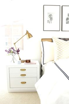 Industrial table lamp in gold in a white bedroom with hotel style bedding (scheduled via http://www.tailwindapp.com?utm_source=pinterest&utm_medium=twpin&utm_content=post87937719&utm_campaign=scheduler_attribution)