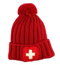 Swiss Flag Logo Hat By Strellson $68 | Cover up bed head with this louche-cool beanie, Strellson's nod to the frosty winter season. The Swiss cross symbol and pompom add an irreverent dash to any cold weather ensemble. | GOTSTYLE.ca