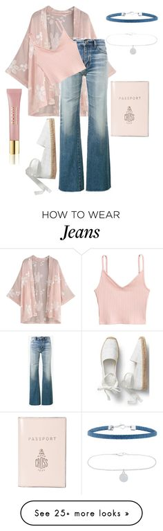 """""""Pale pink with jeans"""" by andrealorena-7879 on Polyvore featuring Yves Saint Laurent, Accessorize, Mark Cross and AERIN"""